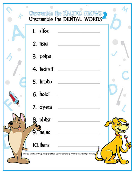 Unscramble the Dental Words Activity Sheet - Pediatric Dentist in Gallatin, TN